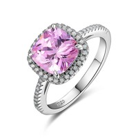 Newshe 1.8 Ct Pink CZ Solid 925 Sterling Silver Halo Wedding Ring Jewelry For Women JR4964