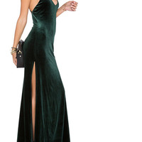 Green Velvet Sling V Neck Backless Dress
