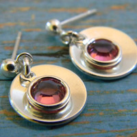 """1/2"""" Sterling Silver Washer and Birthstone or Crystal Dangle Earrings, Custom Made, Adult or Child, Round on Post"""
