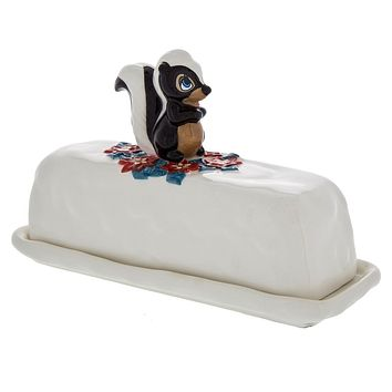 Disney Parks Retro Holiday Storybook Flower Butter Dish Christmas New with Box