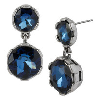 Kenneth Cole New York Silver Tone and Blue Crystal Double Drop Earrings