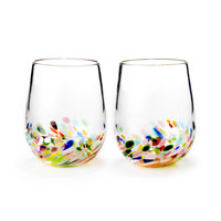 CONFETTI WINE GLASSES - SET OF 2 | Hand Blown Stemless Wine Glasses | UncommonGoods