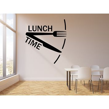 Vinyl Wall Decal Dinner Lunch Time Clock Decor For Kitchen Cafe Stickers Mural (g1512)