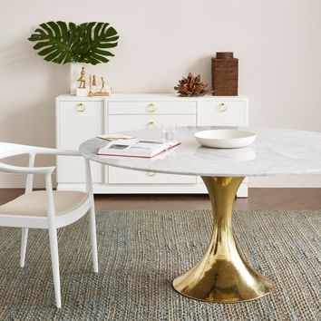 Bungalow 5 Stockholm Dining Table - Brass & White | New Furniture | What's New! | Candelabra, Inc.