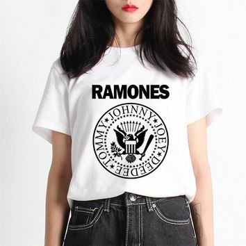 Promotion Vogue Women T-shirt Ramones Nirvana Kawaii Arctic Monkeys T shirt Woman Tee Street  Womens Tshirt Harajuku Korean
