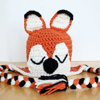 Crochet fox hat, knit fox hat, crochet animal hat, orange and black, 5t to adult sizes available