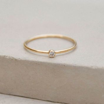 1mm CZ Stacker - Gold Filled