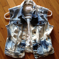 Custom Distressed Destroyed denim jean vest girls size large