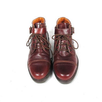 80s Brown Lace Up Boots Leather Ankle Strap Boots Combat Hiking Boots Womens Winter Snow Boots (9)