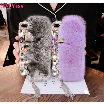 Fashion Rabbit Fur Hair Plush Phone Case For iPhone 5C 5S SE 8 7 6 6S Plus X Luxury Bling Rhinestone Diamond Fox Soft Back Cover