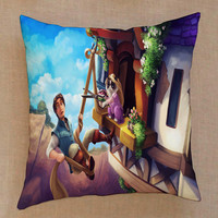 grumpy cat as rapunzel disney tangled disney princess pillow Pillow Cover Custom  Square Pillow Cases