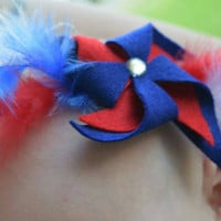 Fourth of July Pinwheel Crown, Elastic, stretchy headband, girl, newborn, infant, toddler, hair accessories
