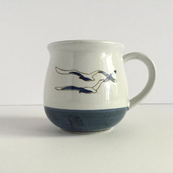 Vintage Otagiri Coffee Mustache Mug Tea Cup Seagulls Birds Nautical Embossed
