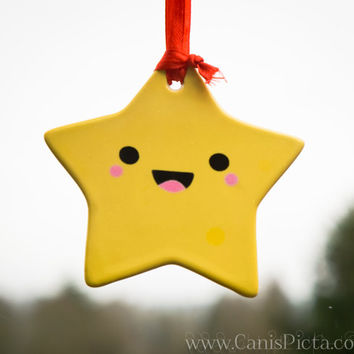 Kawaii Star Christmas Ornament Happy Cute Tree Decoration Yellow Home Decor Porcelain Gift Unique Chibi Geometric For Baby Kid Children Pink