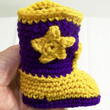 Baby Crochet Cowboy Boots,Purple and Gold, LSU Colors, Western Boots, Baby  gift, Baby Shower Gift, Handmade, Made in the USA, #220