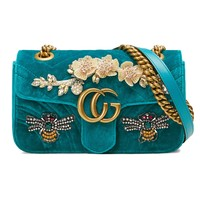 """Gucci"" Women Crystal Flower Bee Embroidery Velvet Metal Chain Single Shoulder Messenger Bag Small Square Bag"