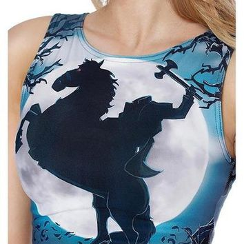 Running Vests Jogging Women Moonlight Horse Tank Tops Sexy Sleeveless T Shirt Clothes Yoga Gym Running Lady Vests Camisole Digital Print High Elastic KO_11_1