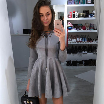 Long Sleeve Women's Fashion V-neck One Piece Dress [9643030159]