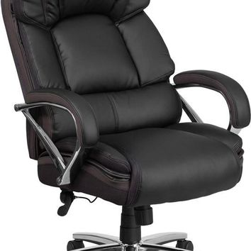 Series 500 lb. Capacity Big & Tall Black Leather Executive Swivel Office Chair with Padded Leather Chrome Arms