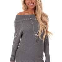 Grey Off Shoulder Oversized Sweater