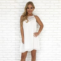 Lace Be Honest Shift Dress in White