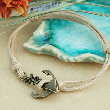 Bracelet-Khaki anchor charm bracelet with khaki string, gift for friends