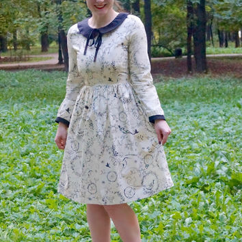 Fox owl deer animal print dress, Peter Pan collar dress, midi dress, cotton dress, autumn dress, everyday wear, woodland print, collar dress