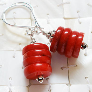Red Coral Earrings, Bali Silver, Coral Jewelry, Silver Jewelry