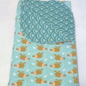 Puppies Extra Large Reversible Flannel Receiving or Swaddling Blanket, Double Layer Crib Blanket or Quilt