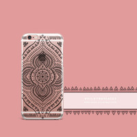 'Black Opulent Mandala' - Clear TPU Case Cover