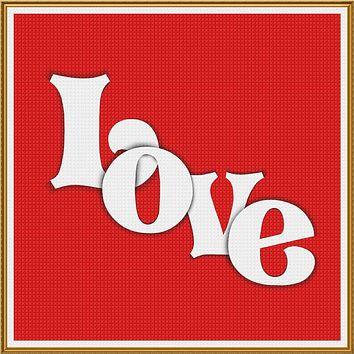 Contemporary Valentine Word Love Sew So Simple ™ Counted Cross Stitch or Counted Needlepoint Pattern