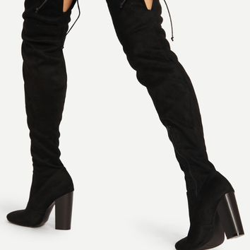 Lace Up Detail Block Heeled Thigh High Boots