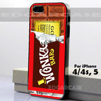 5758 Willy Wonka Golden Ticket - Hard Cover - For iPhone 4 / 4S, iPhone 5 - Black / White Case