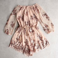 DCCK7XP reverse - life of the party strapless sequin romper - rose gold