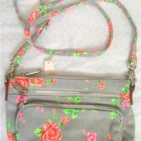 VICTORIAS SECRET LOVE PINK NEON GREY FLORAL CANVAS CROSS BODY PURSE BAG SWING