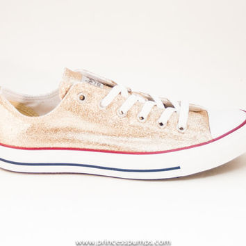 Champagne Gold Glitter Canvas Converse All Star Low Top Sneakers Shoes ec51ee850d