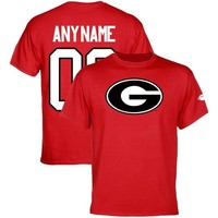 Georgia Bulldogs Personalized Football Name & Number T-Shirt - Red