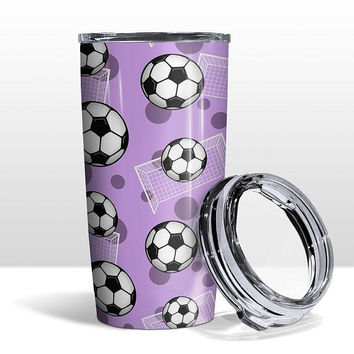 Purple Soccer Tumbler Cup - Soccer Ball and Goal Pattern on Purple - 20oz Insulated with Clear Lid - Hot or Cold Beverages - Made to Order