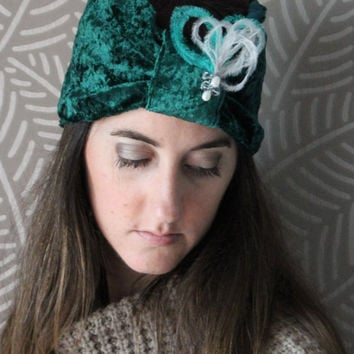 Emerald green velvet turban decorated with feathers,Woman Turban, Women Gift Christmas