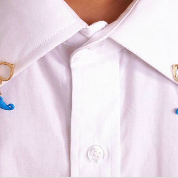 Fluorescent color glasses with mustache brooch, mustache Spectacles Collar clip, 3 colors available