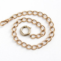 Vintage 12k Rosy Yellow Gold Filled Pocket Watch Chain - Antique Early 1900s Vintage Mens Classic Thick Link Swivel Clip Jewelry Accessory