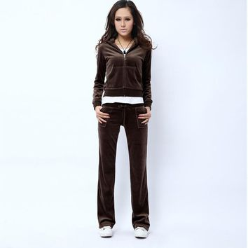 Juicy Couture Pure Color Velour Tracksuit 6047 2pcs Women Suits Coffee