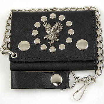Eagle Biker Wallet Tri-Fold with Chain Genuine Leather