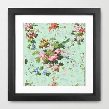 Antique romantic vintage 1800s Victorian floral shabby rose flowers pattern aqua mint hipster print Framed Art Print by iGallery
