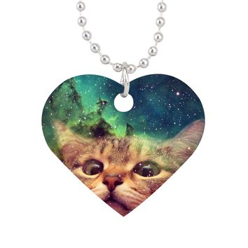 Cat Staring into Space Aluminum Heart Pet Tag - Aluminum Heart Pet Tag