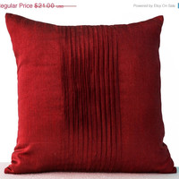 Valentine SALE Throw pillows in red art silk - Attractive cushion in rippled pin tuck pattern -Decorative pillows for sofa -Couch pillow -Gi