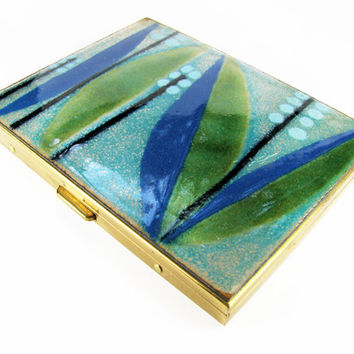 Vintage Cigarette Case 60s Retro, Lily of the Valley, Blue and Green / Business Card Case / Credit Card Case - Le Cas de Cigarettes.