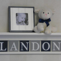 "Personalized Sports Nursery Decor,  Baby Boy Gift , 30"" Linen White Shelf - 8 Plaques Gray / Navy -  LANDON with Football / Baseball"