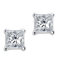 Princess Cut Square CZ Basket Set Silver Unisex Stud Earrings | AihaZone Store