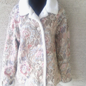Tapestry floral coat jacket faux fake fur cuffs and collar button front coldwater creek retro pink blue brown 1x